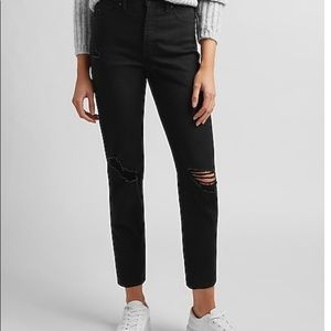 Express high waisted black ripped Mom Jeans size 6